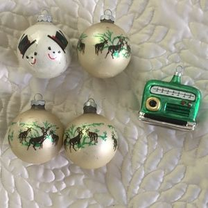 Set of 5 Vintage Glass Holiday Ornaments